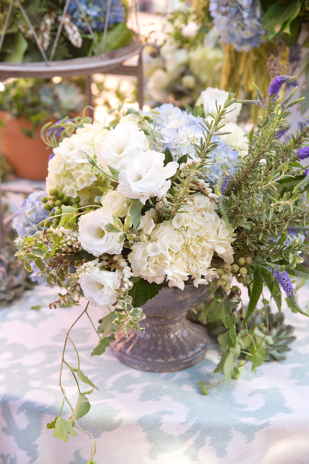 White, green and pale blue flower arrangement