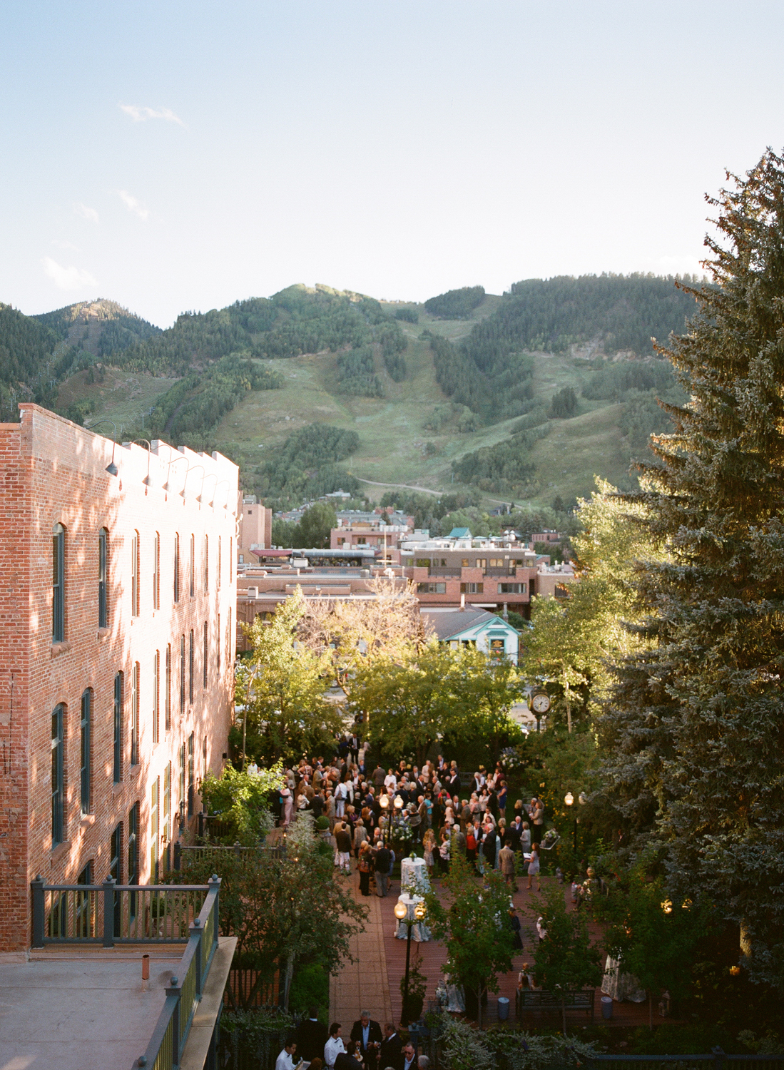 View of Hotel Jerome patio party from above