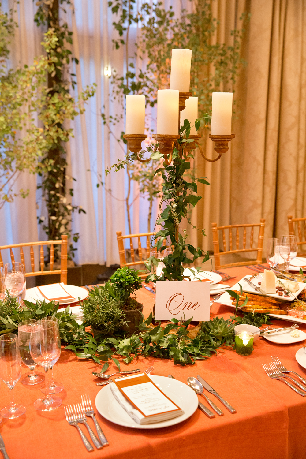 Orange and green dinner table setting