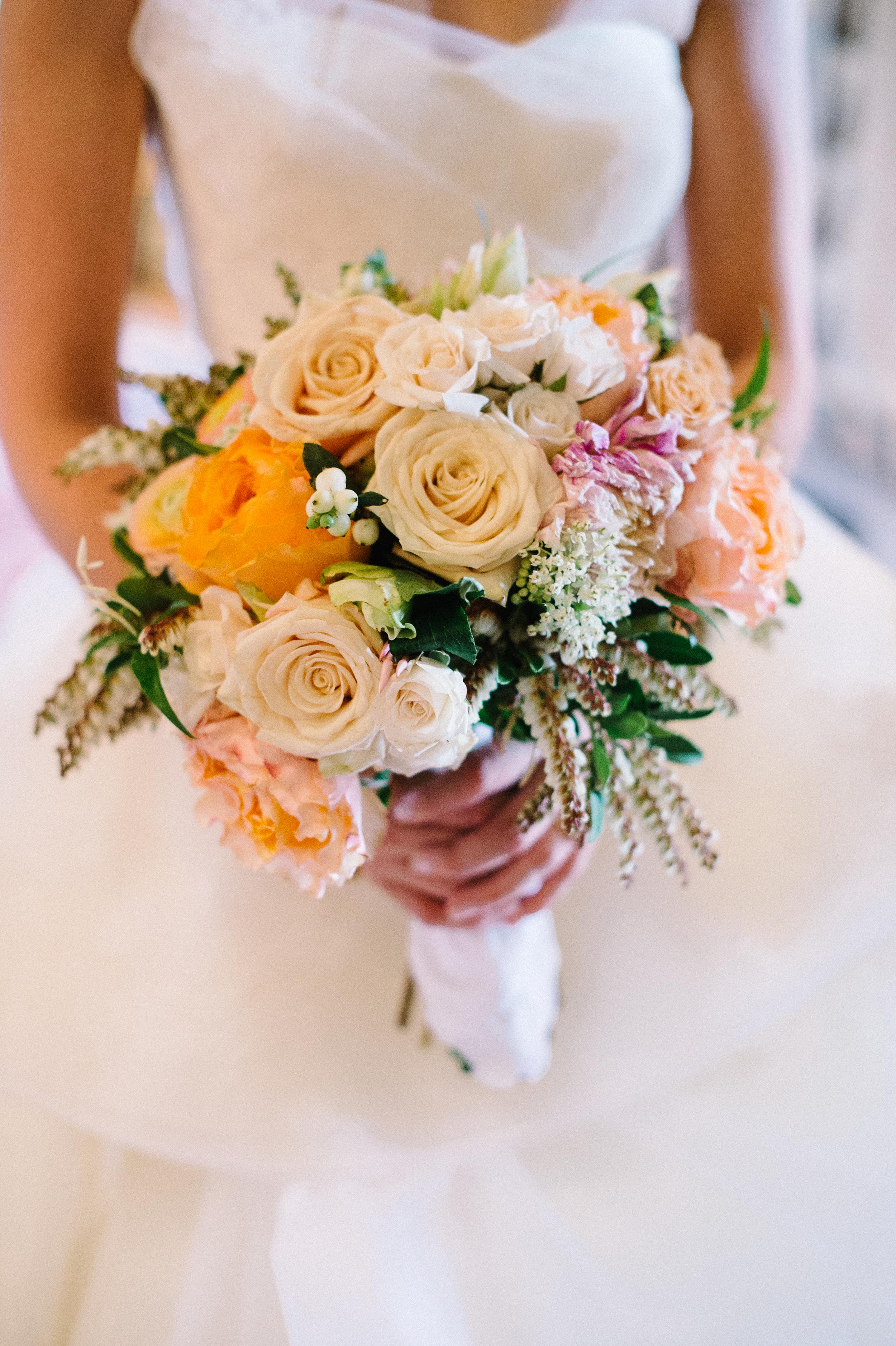 Pink, white orange bridal bouquet
