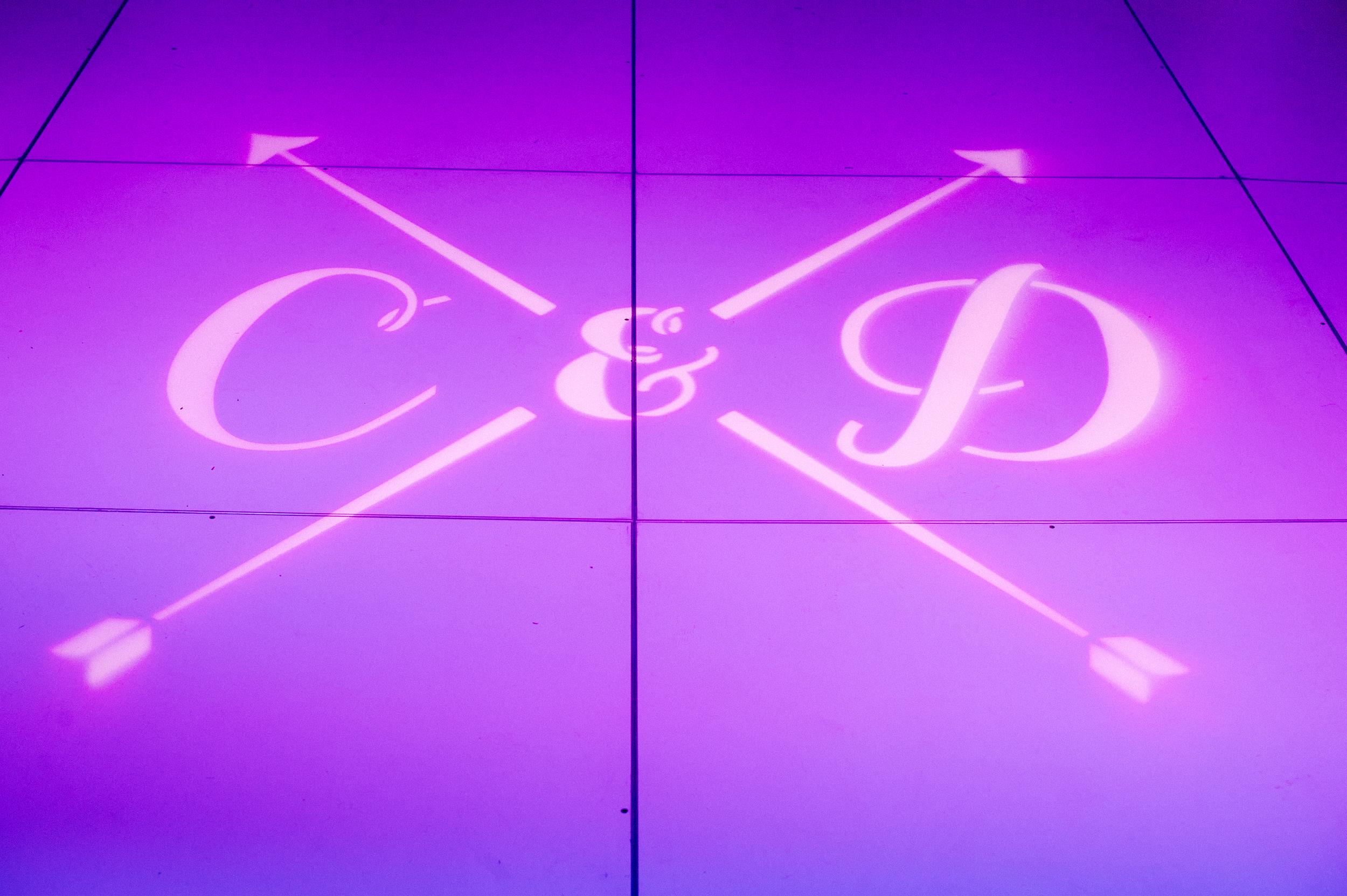 Wedding Monogram Projected Onto Dance Floor