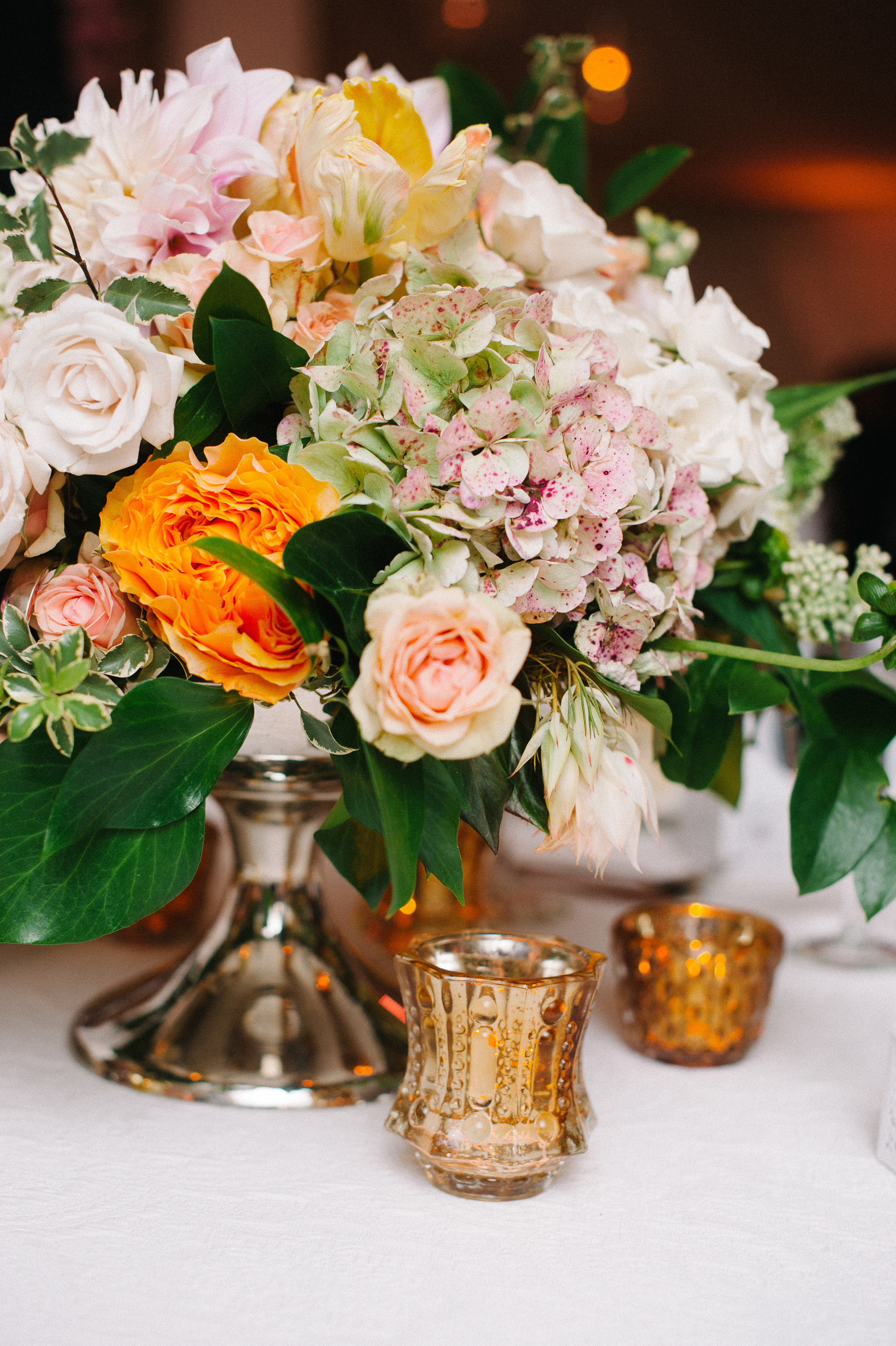 Pink and Green Wedding Table Flowers