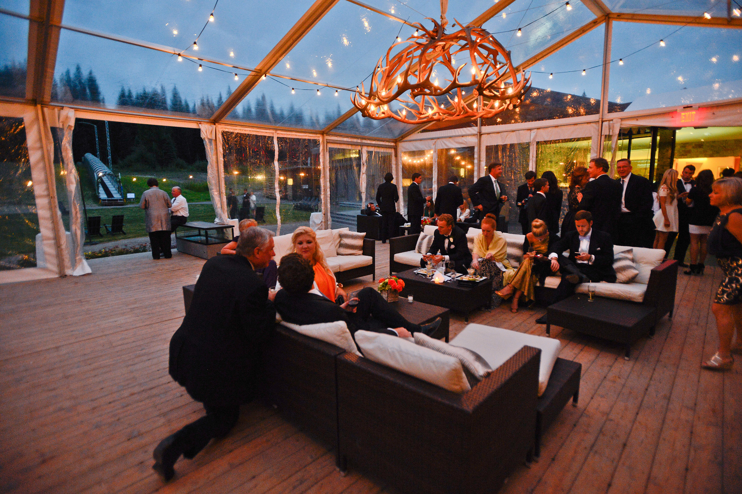 Outdoor Wedding Reception with Clear Tent