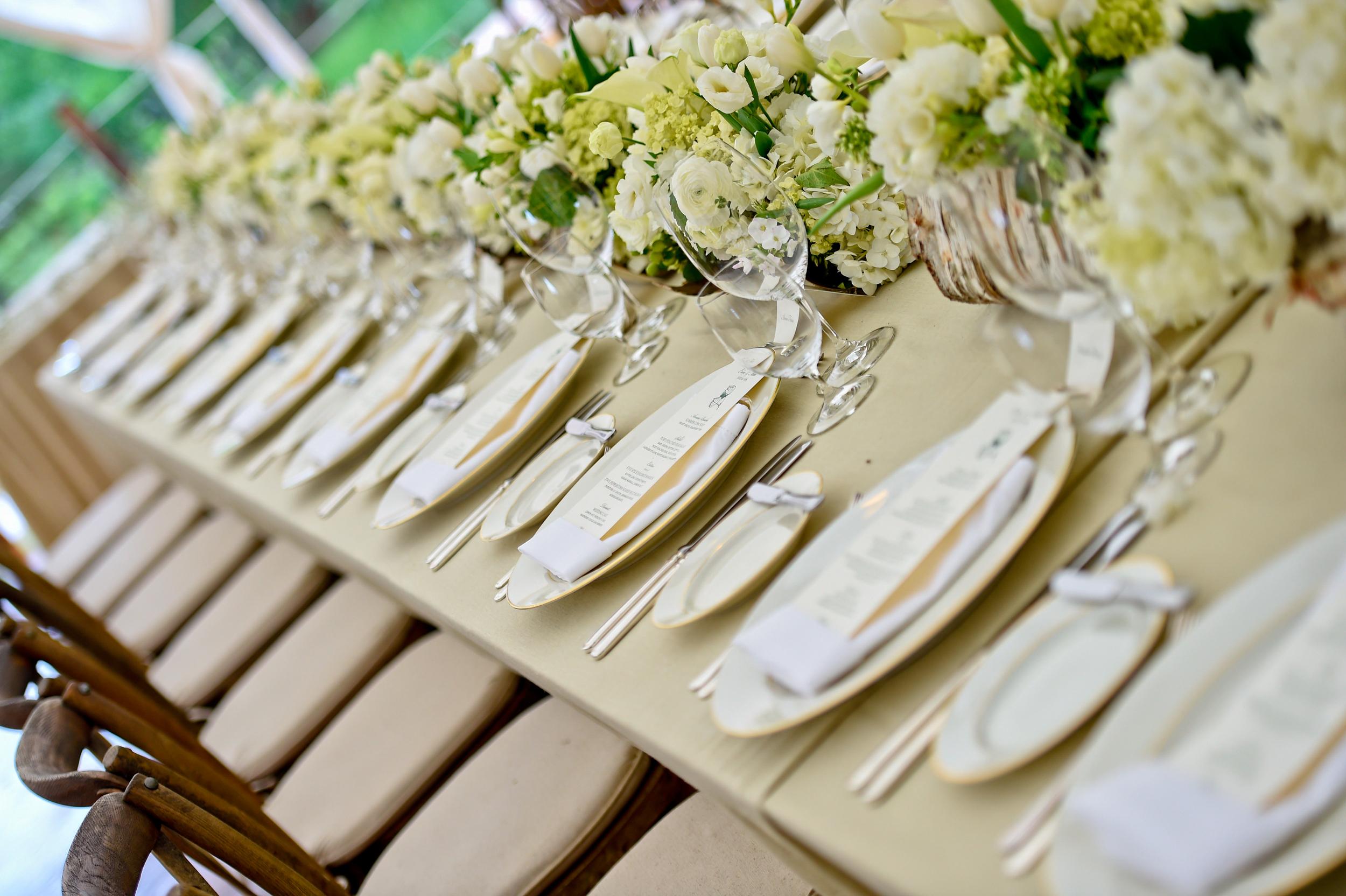 White & Green Dinner Table Setting