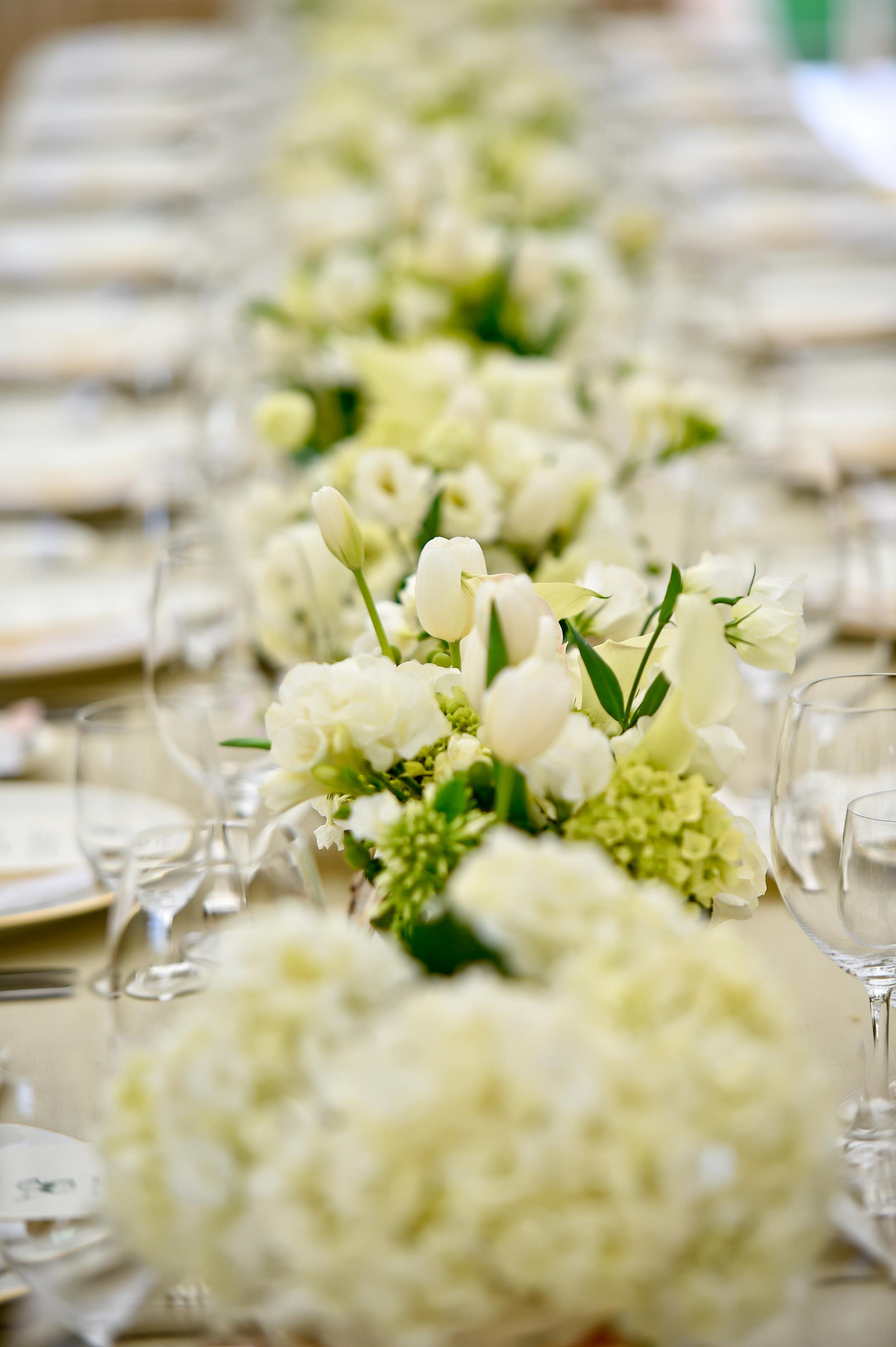 White & Green Flower Centerpieces