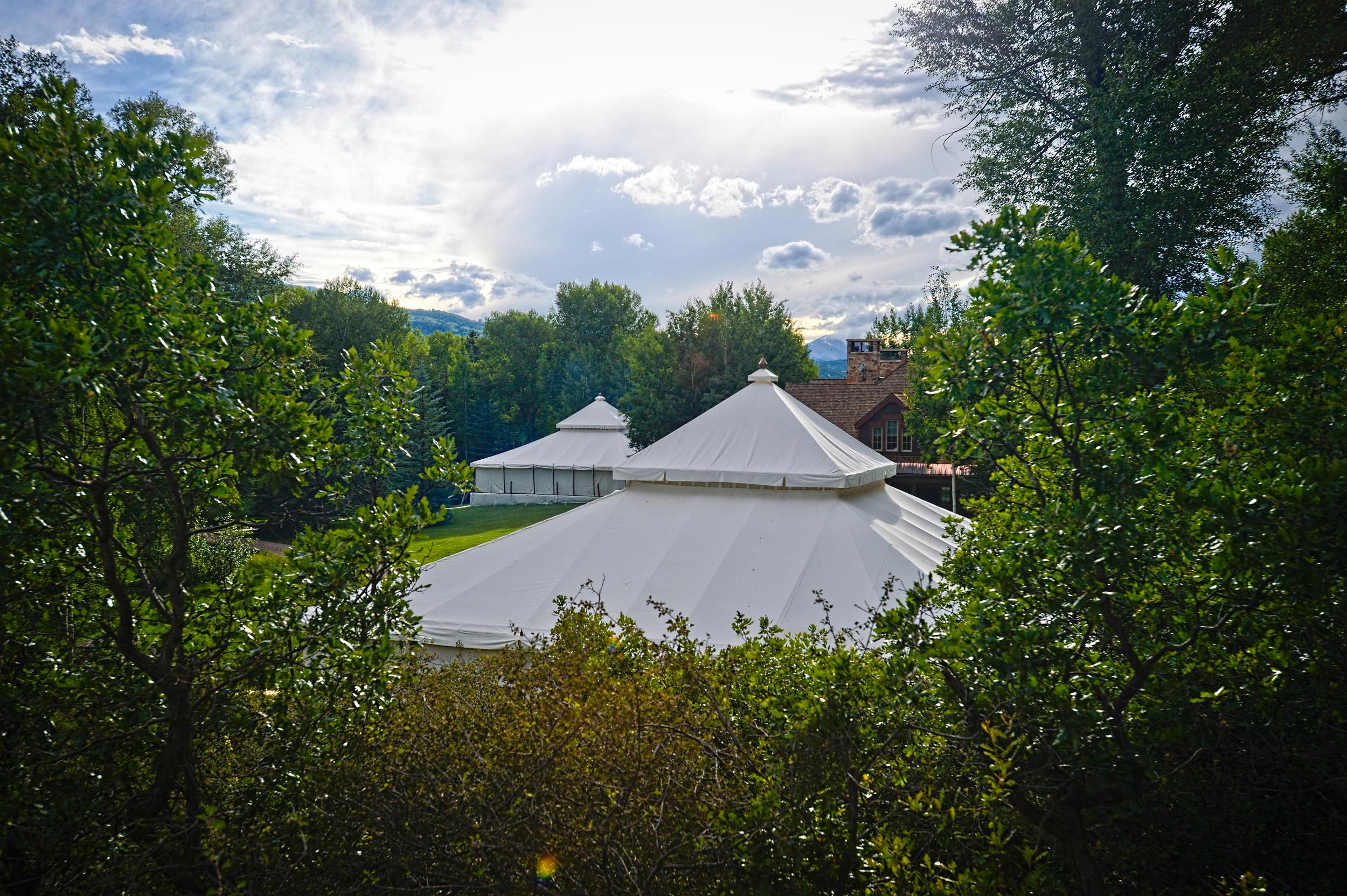 White Wedding Tents in Aspen Backyard