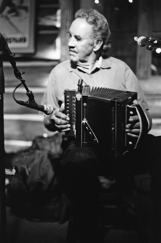 Musician playing accordion