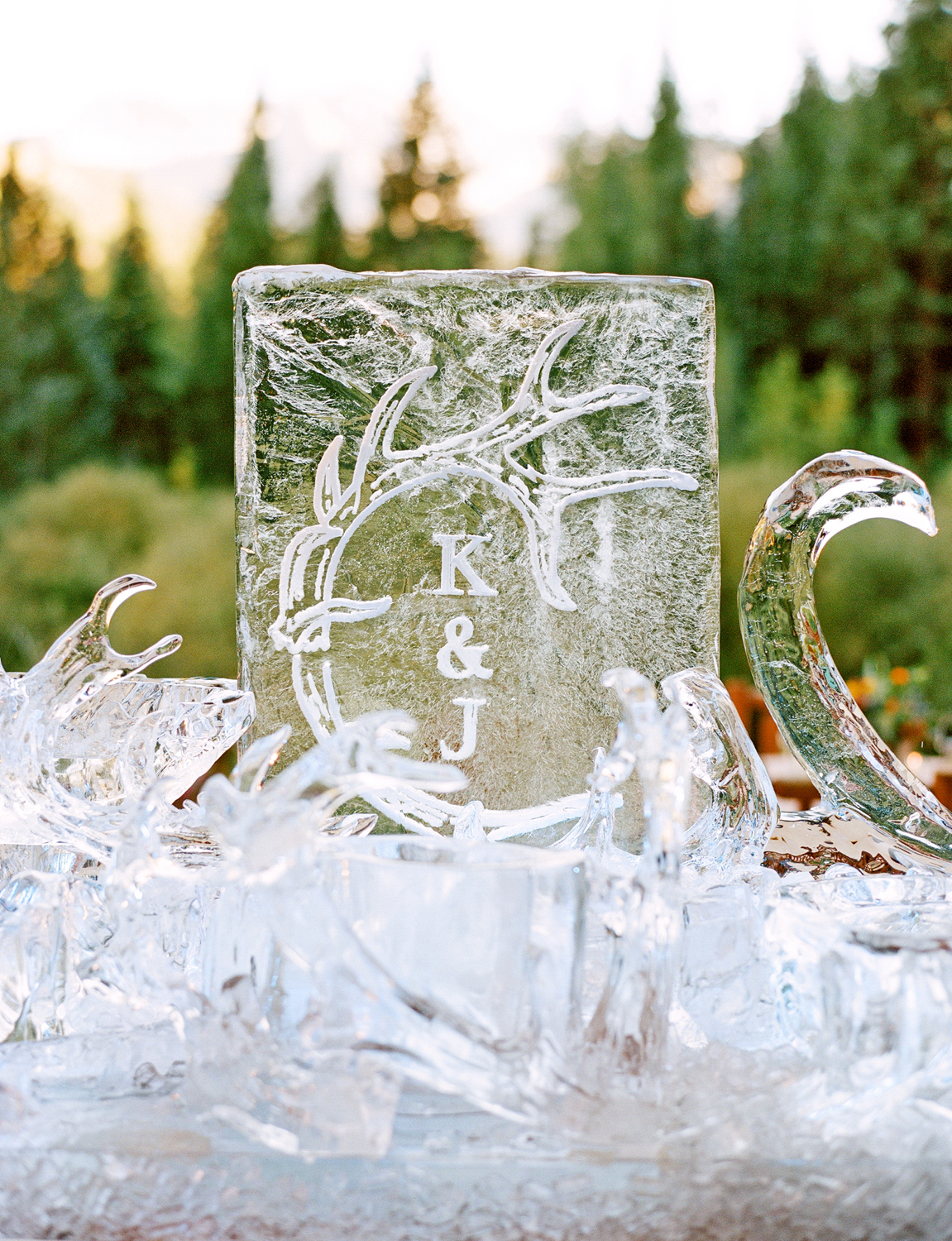 Ice bar with monogrammed logo etched in