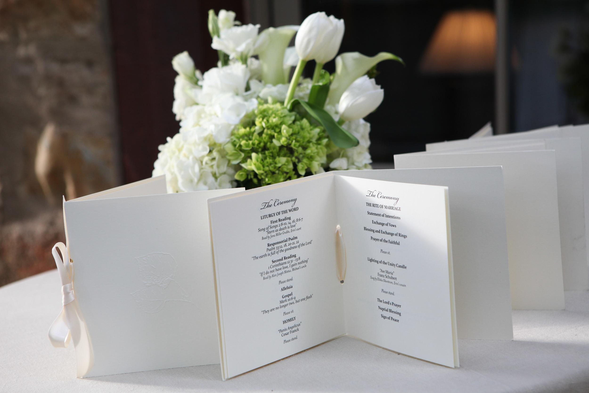 White Wedding Program Booklet