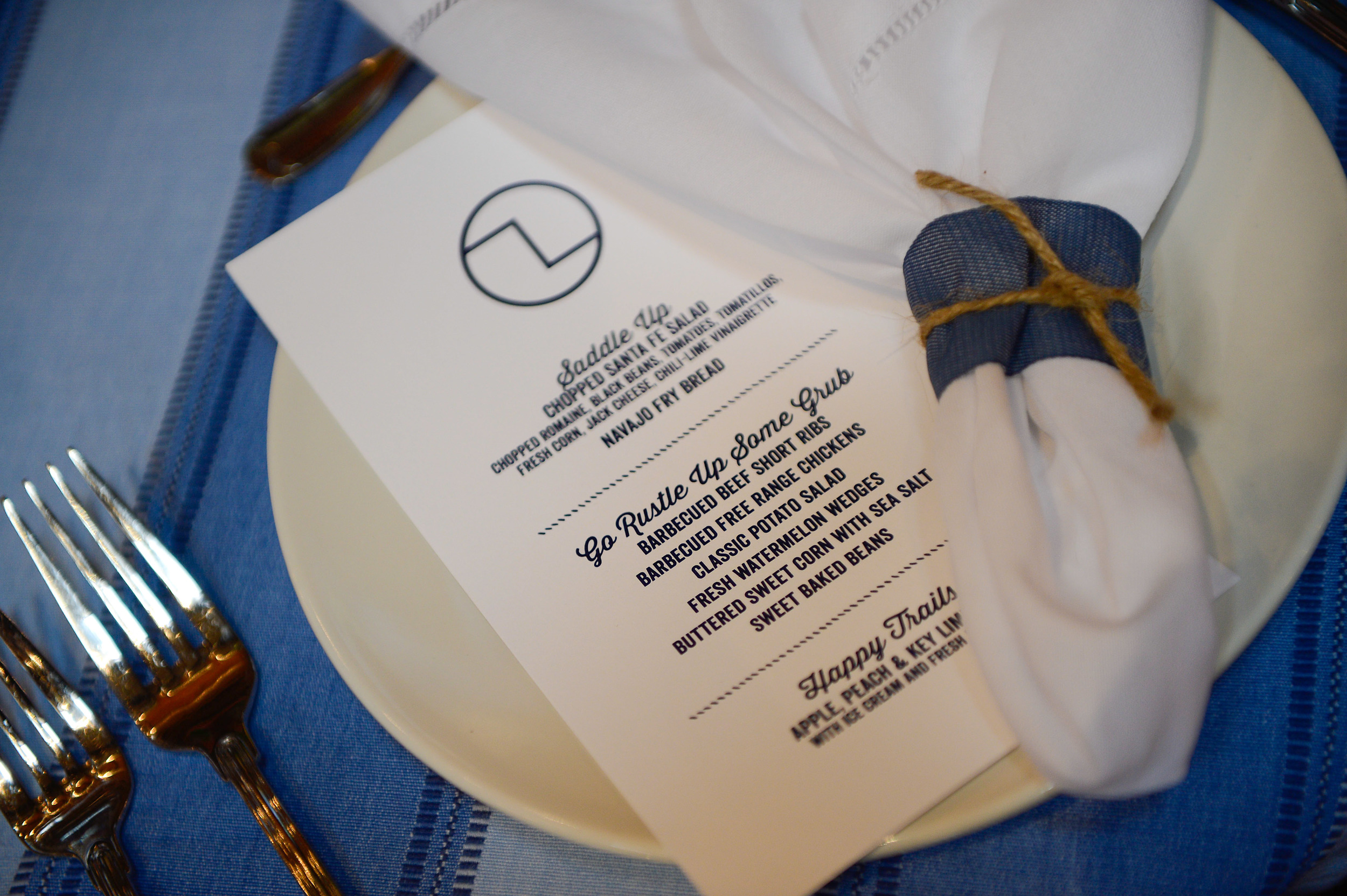 Blue and White Custom Menu
