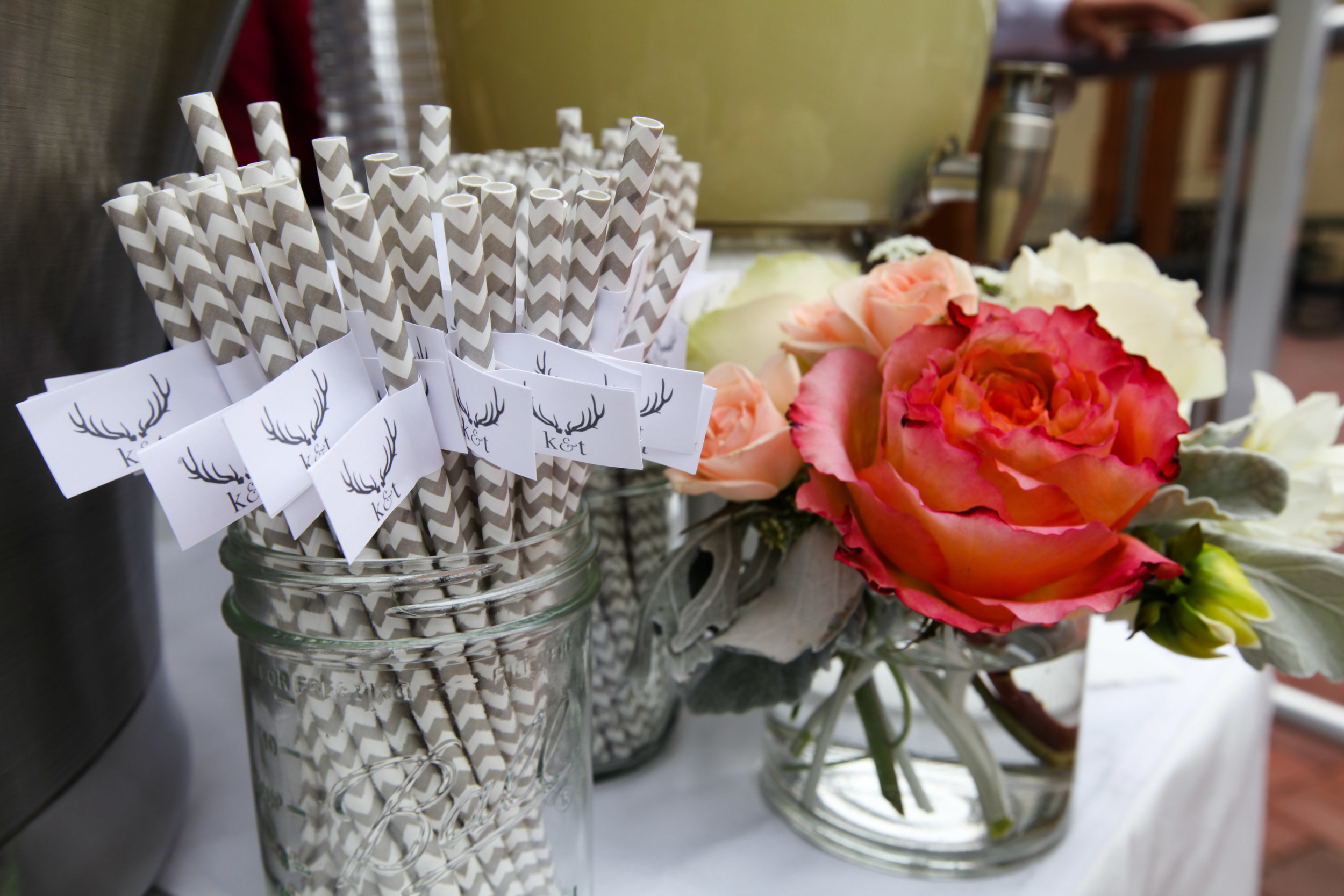 Pink & White Flowers and Monogrammed Straws