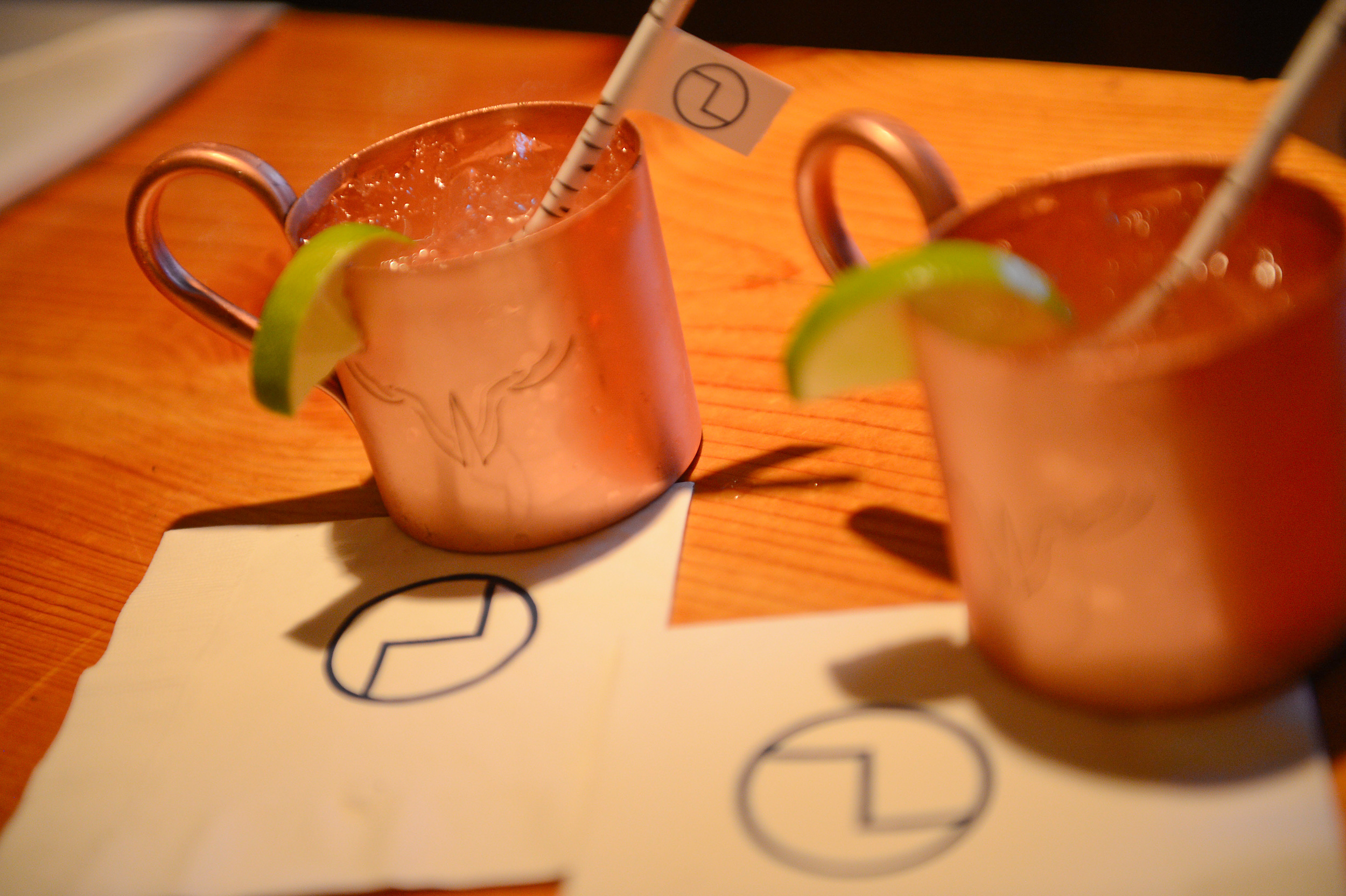 Moscow Mules with Logo Straw