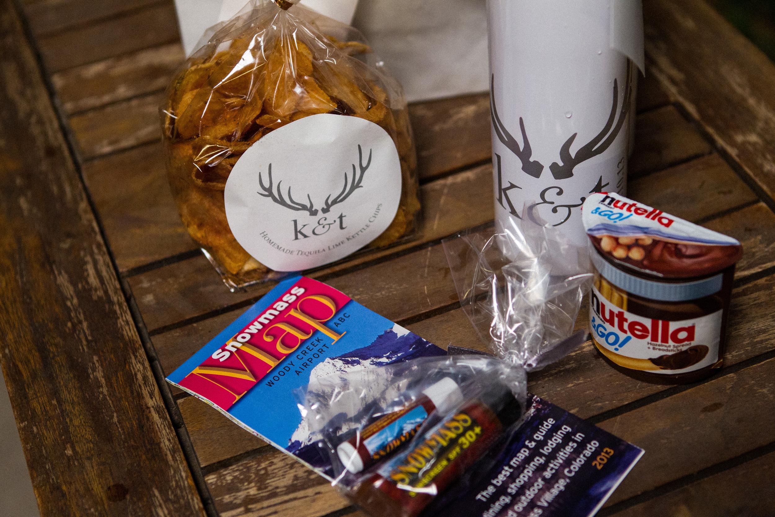 Monogrammed water bottle, snacks, Aspen map