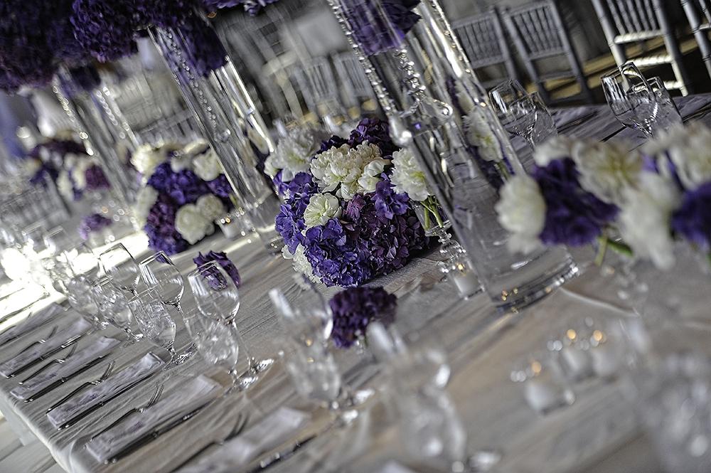 Purple & White Table Setting