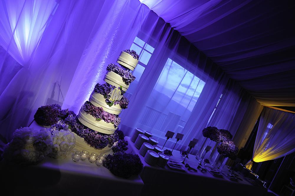 Purple & White Wedding Cake