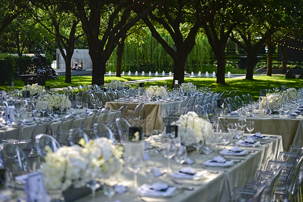 White themed outdoor dinner reception