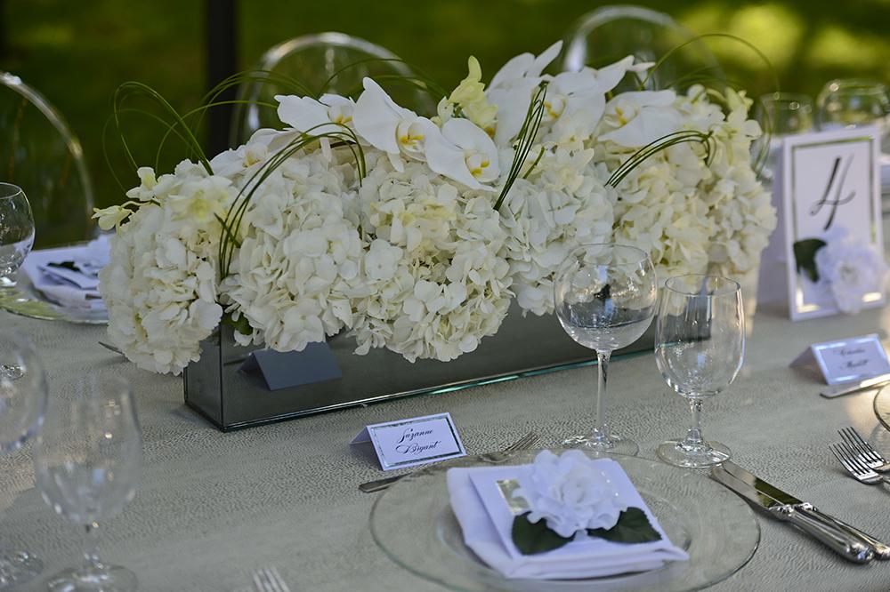 White Hydrangea Table Arrangement