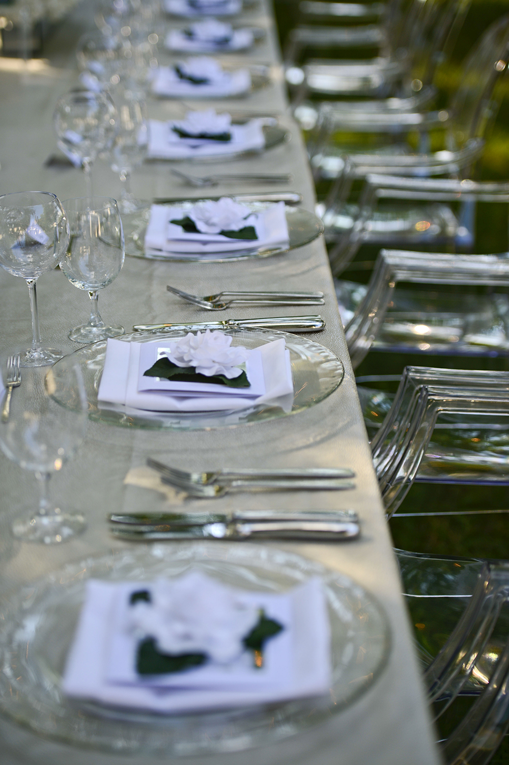 White and glass table settings