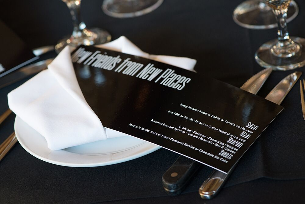 Black and white menu card
