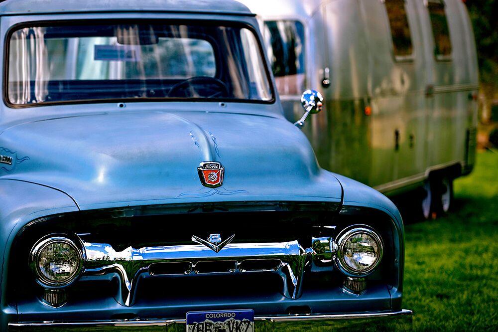 antique blue truck