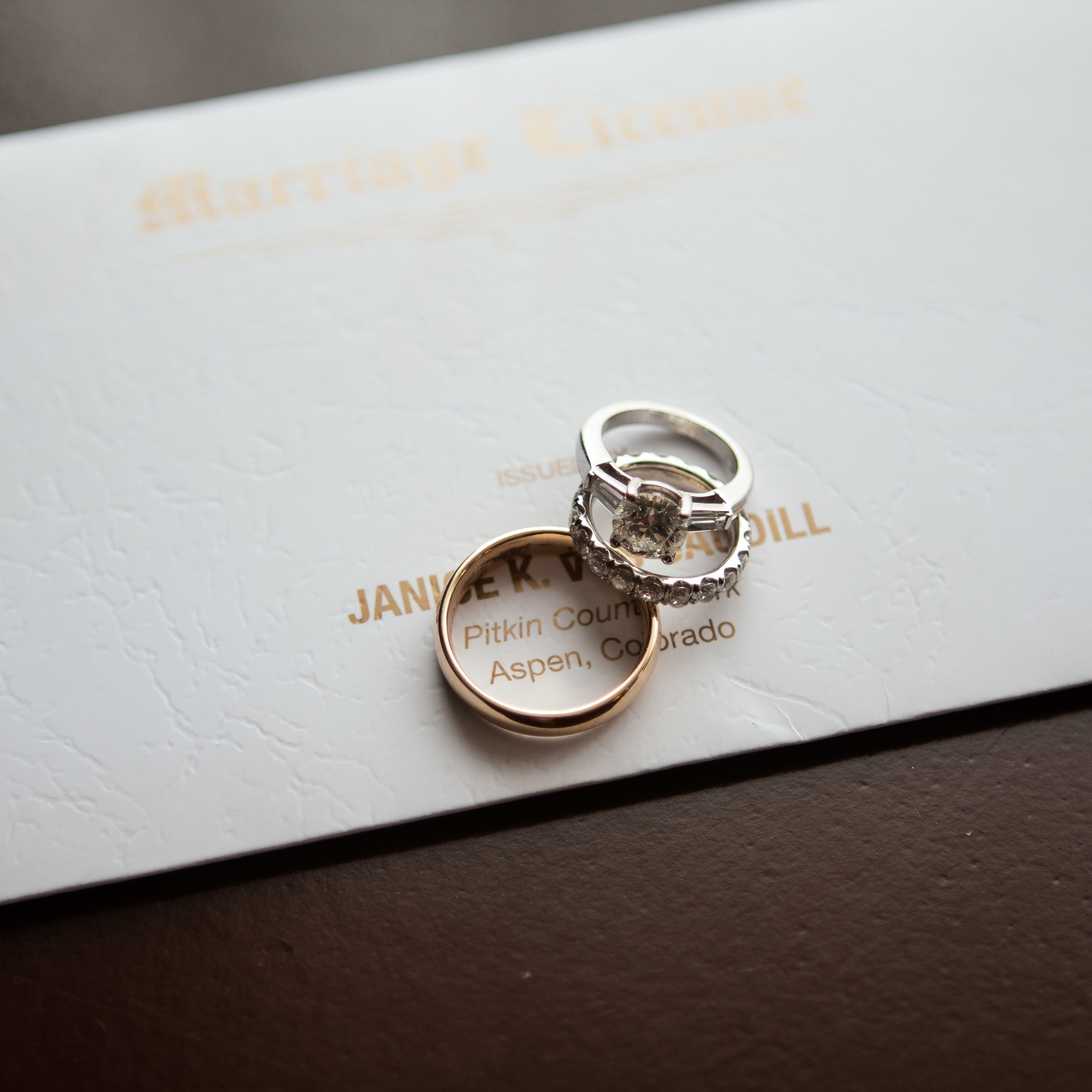 Wedding Rings On Top of Marriage License