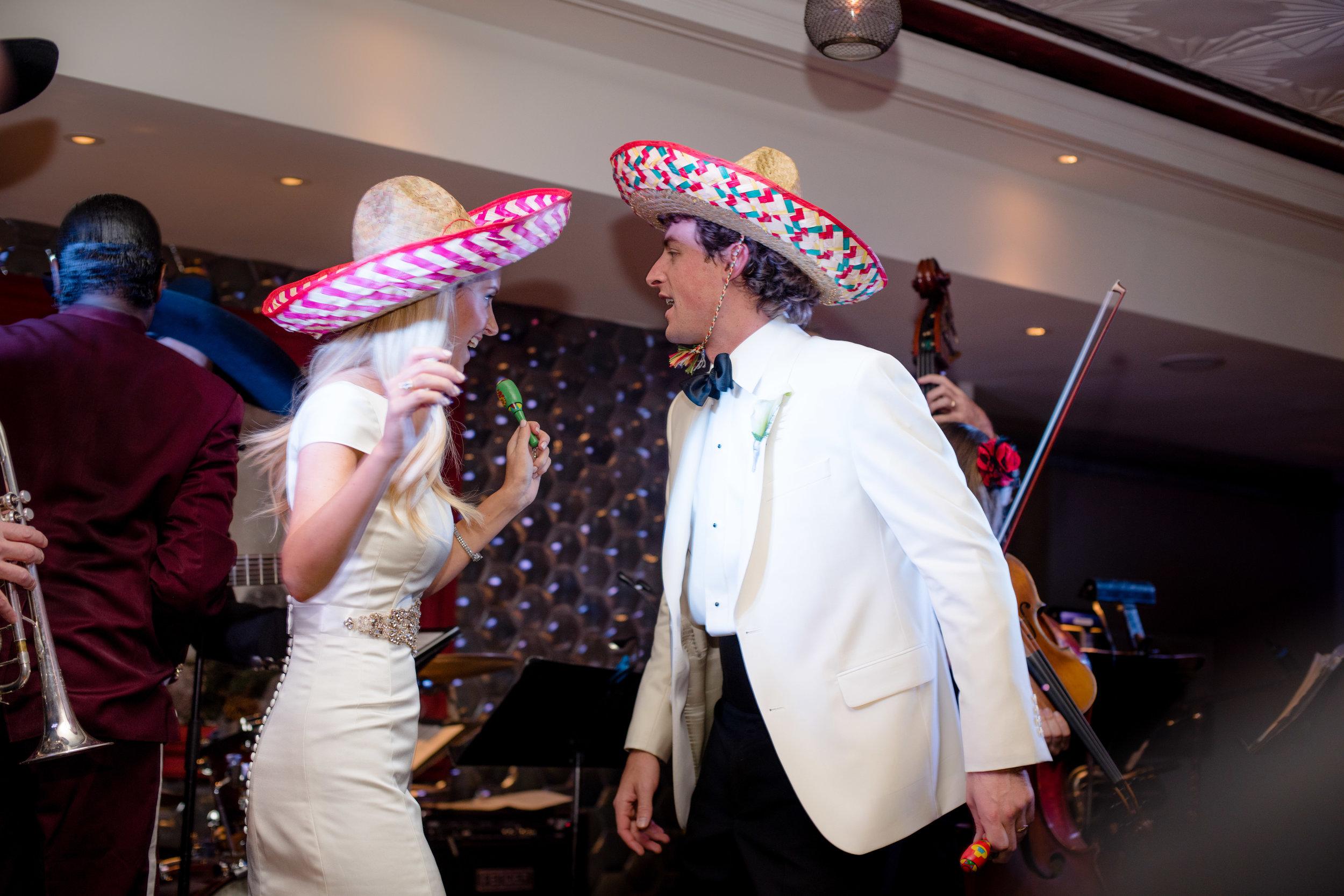 Bride & Groom Dancing with Sombreros