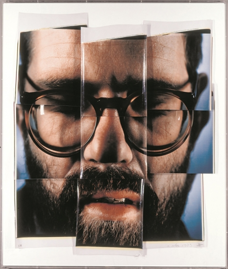 Chuck Close used the enormous 20x24 inch Polaroid to create these composites in the 1980's. Close posed just 4 inches away from the camera to make this collage of his own face.