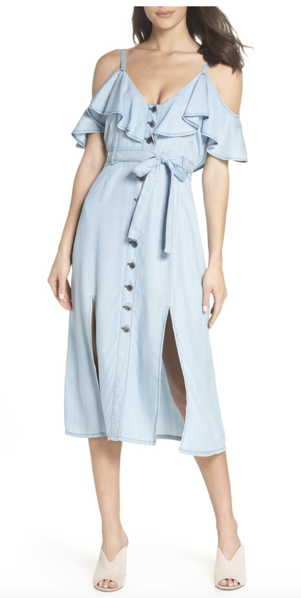 denim off cold shoulder ruffle dress Nordstrom Anniversary.png