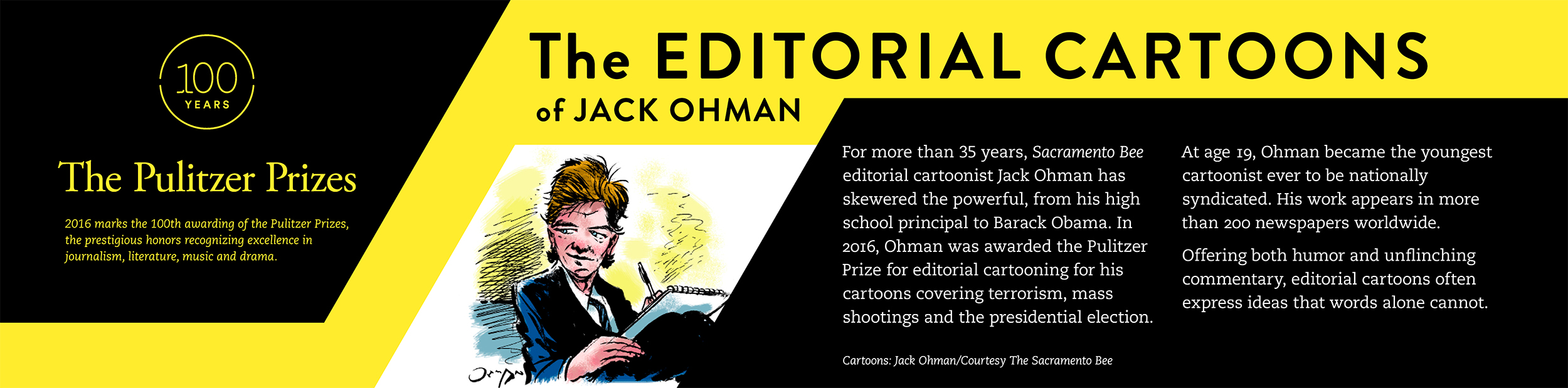 Leading graphic panel for Editorial Cartoon Rail