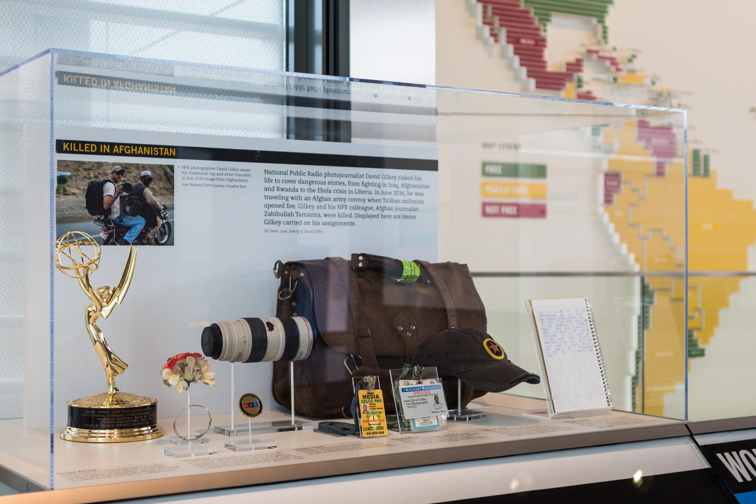 Artifact case containing personal items of photojournalist David Gilkey.