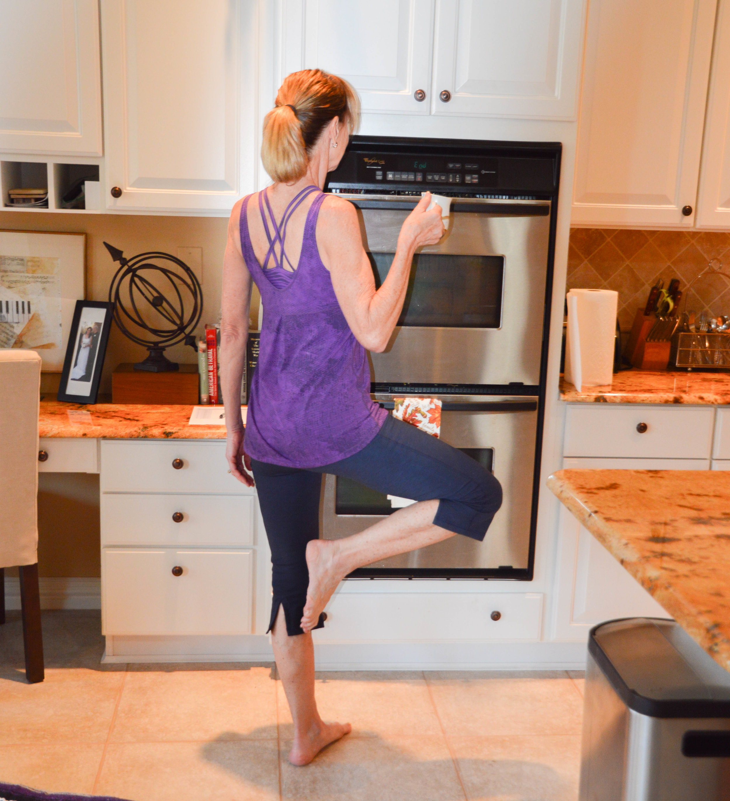 Find Balance in your day in little ways! How about Tree Pose while waiting for your coffee?