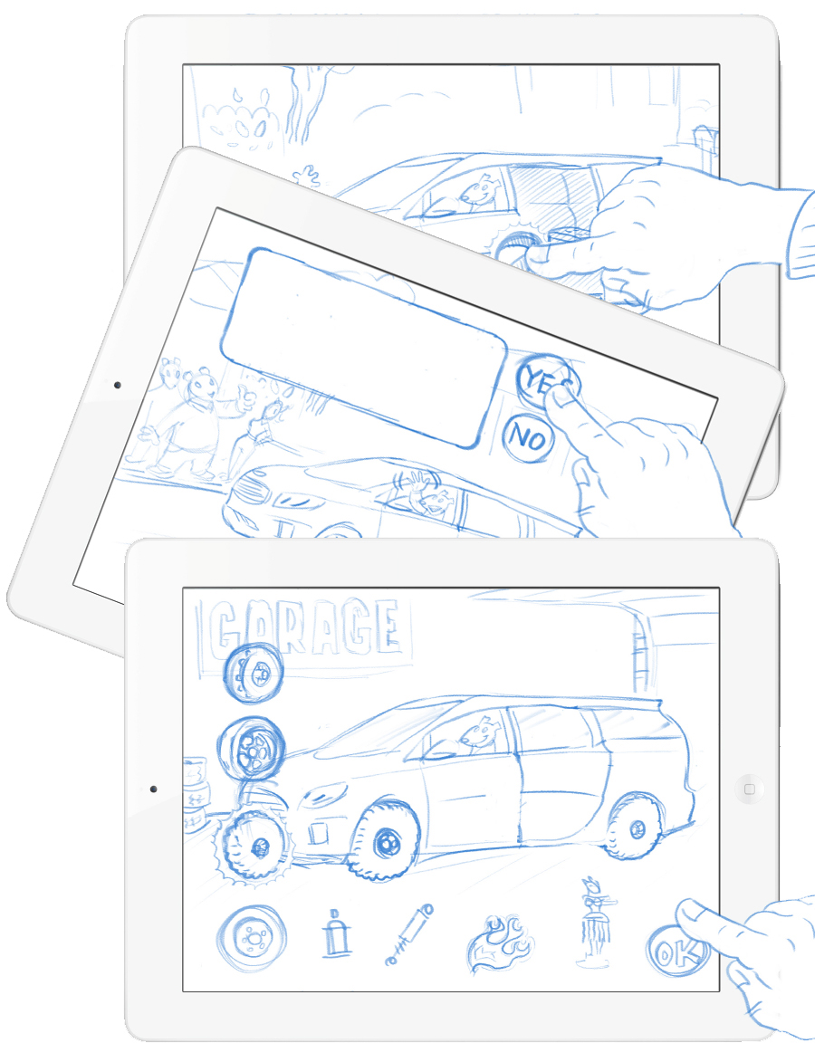 Storyboarding and user-interface design for interactive apps.