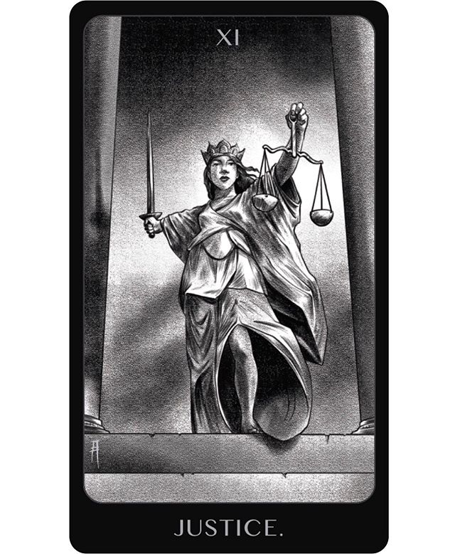 XI - Justice Fairness, truth, cause and effect, law. #amorysdarktarot #tarot #occultart #justicetarotcard