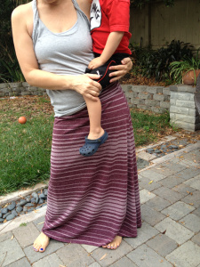 My friend Amber carrying her cute toddler on her hip. Yikes.