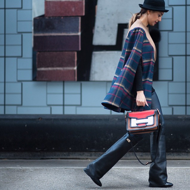 Perwin Aydin (photo by Andrew Barber) at LFW FW'15 carrying her Pierre Hardy 'Alpha' bag