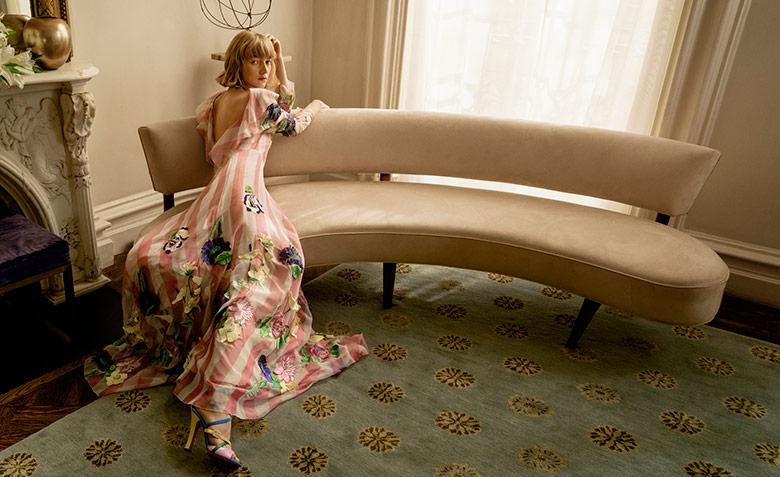 Model Lou Schoof wears pieces from the season.