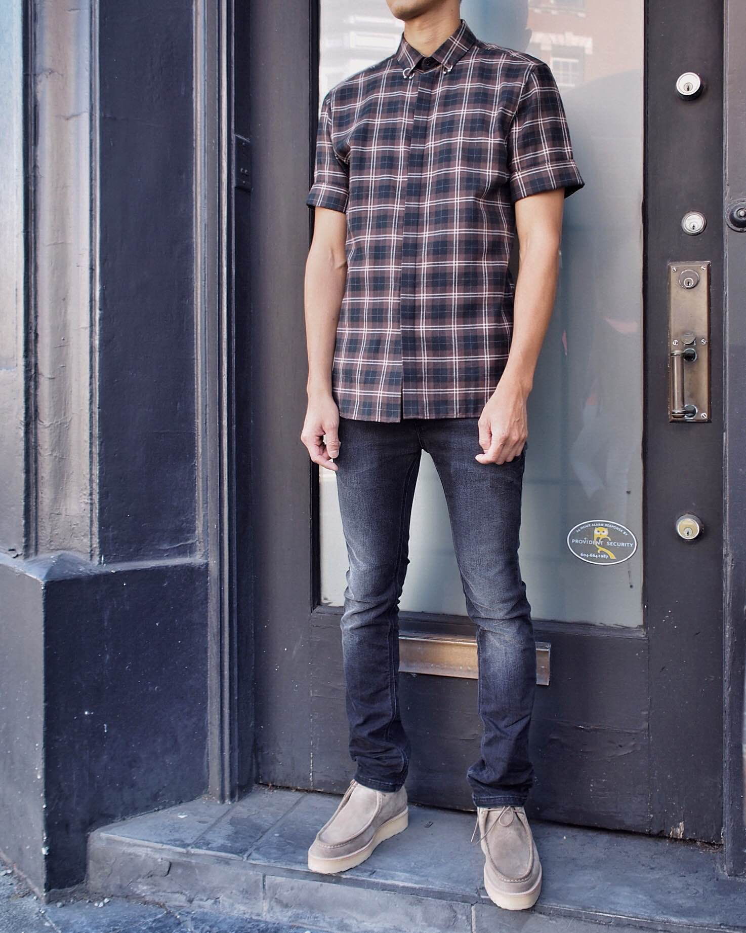 Neil Barrett shirt and jeans with Pierre Hardy suede boots.