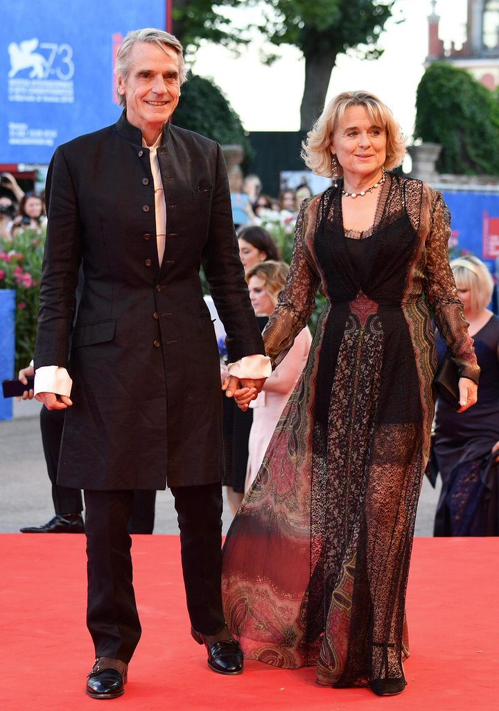 Sinead Cusack in Etro with Jeremy Irons