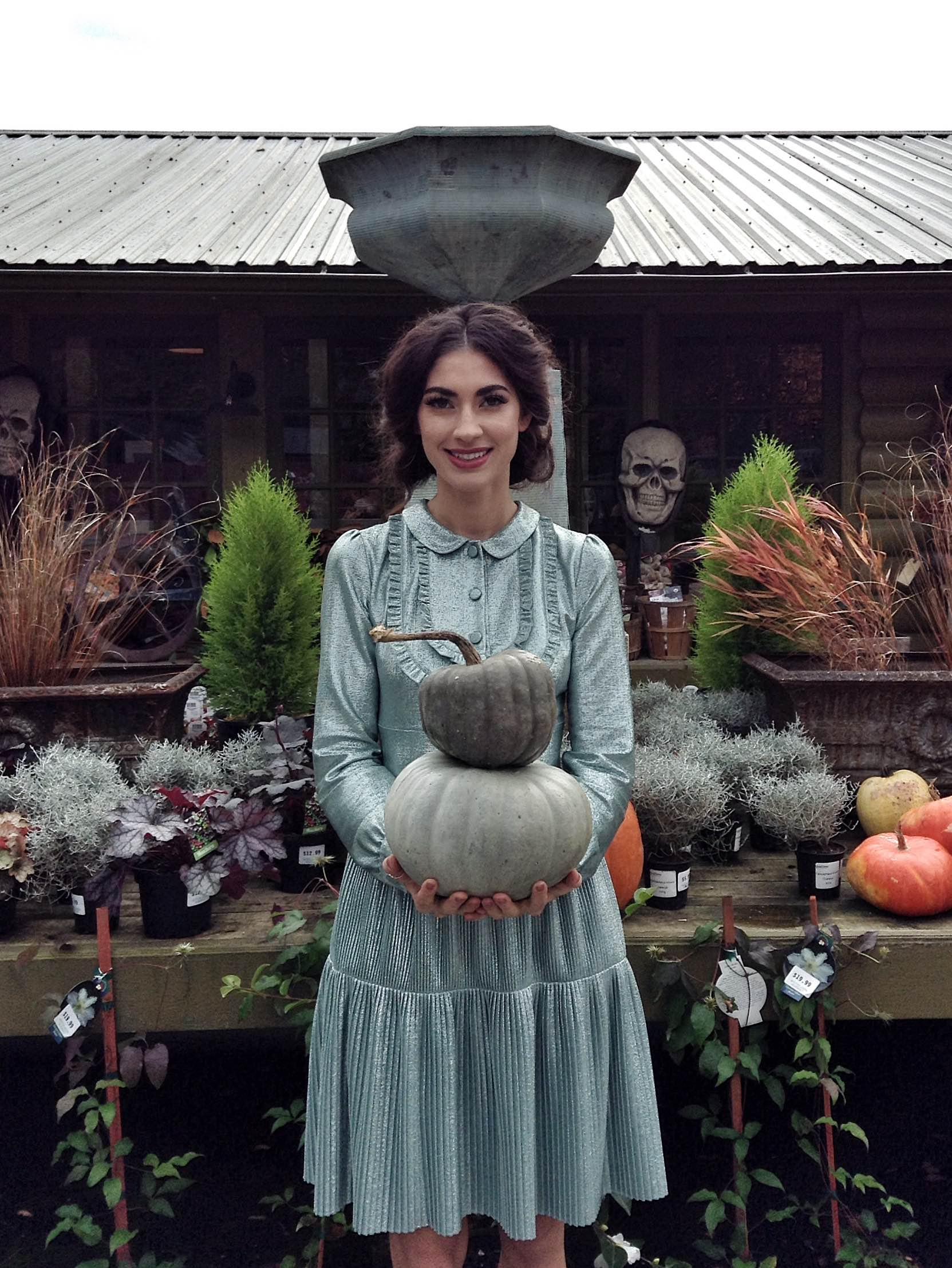 Bree Woodill wearing Blumarine AW16 & carrying Jarrahdale pumpkins