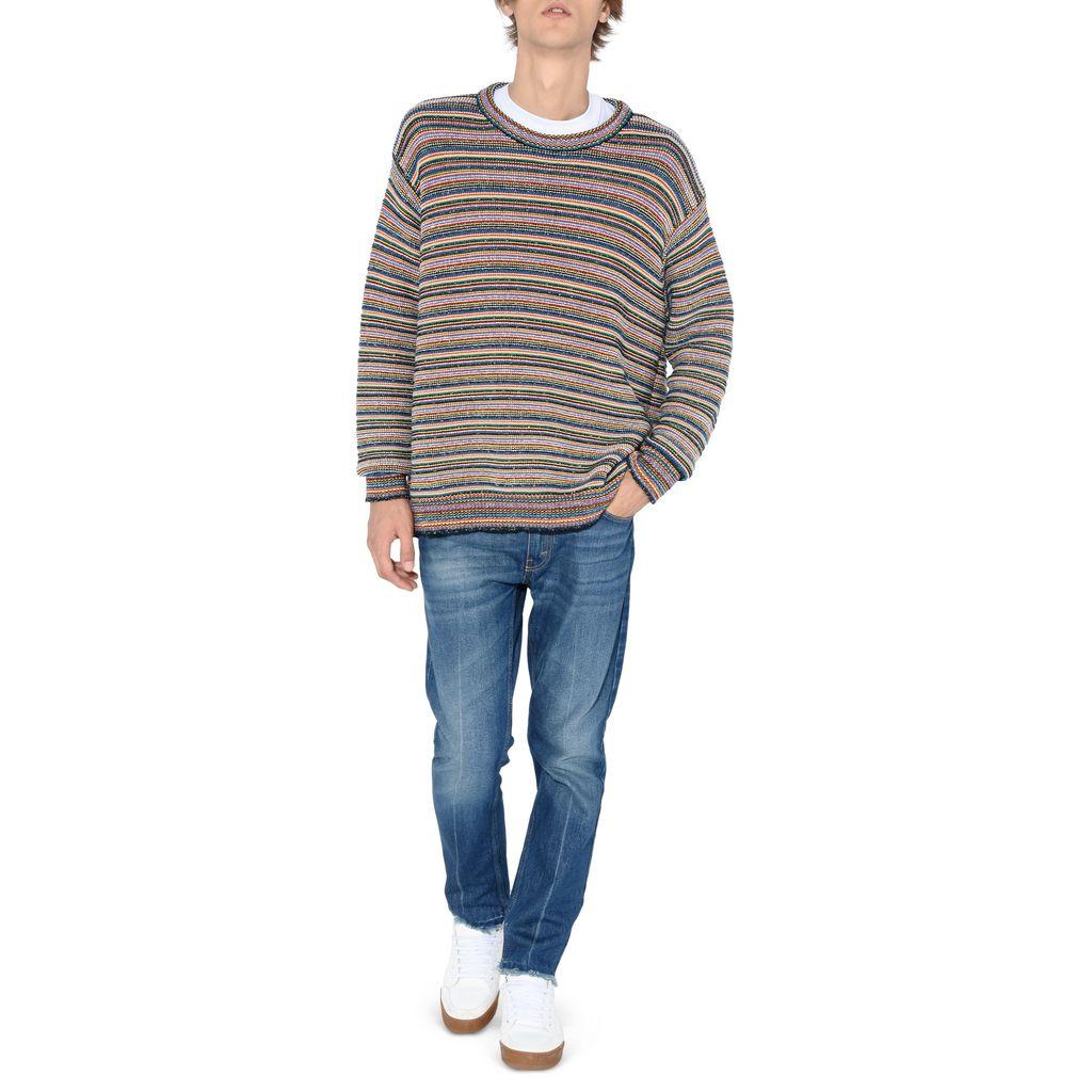 Multi stripe pullover sweater in store!