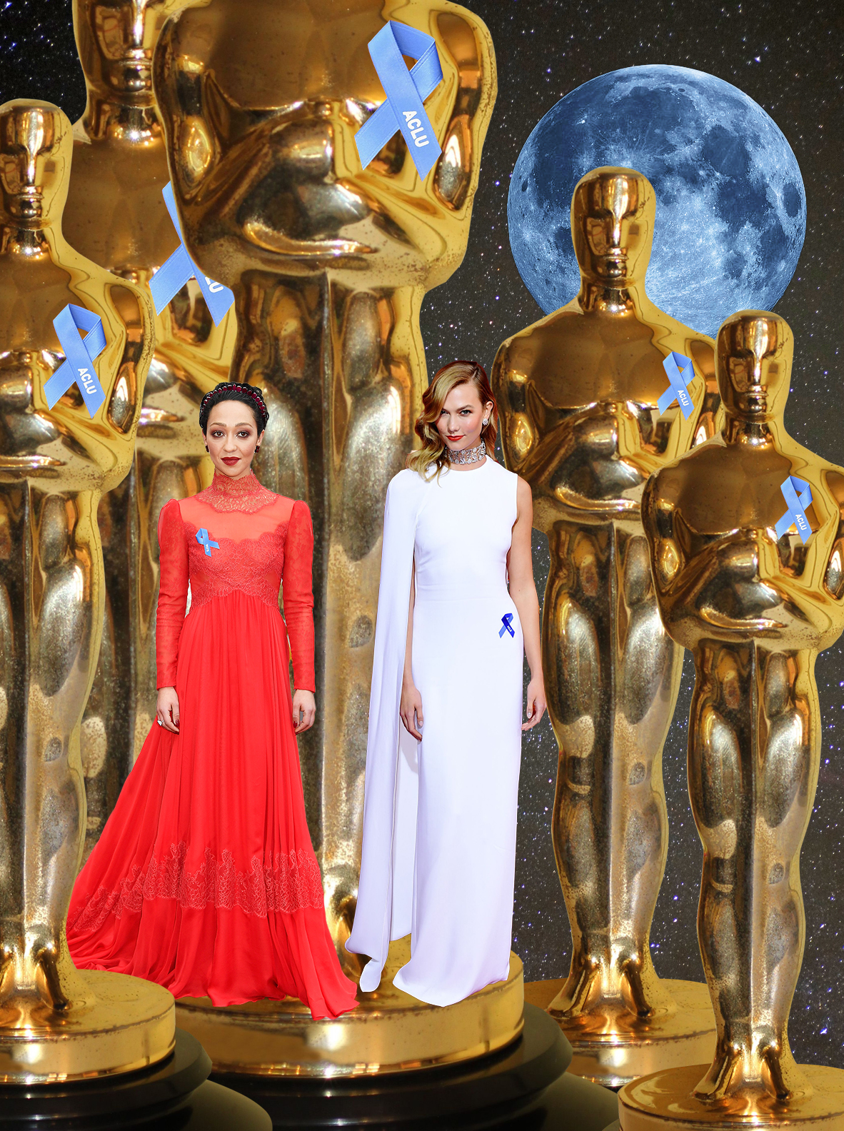 Ruth Negga wears lacy red Valentino and Karlie Kloss wears sleek white Stella McCartney