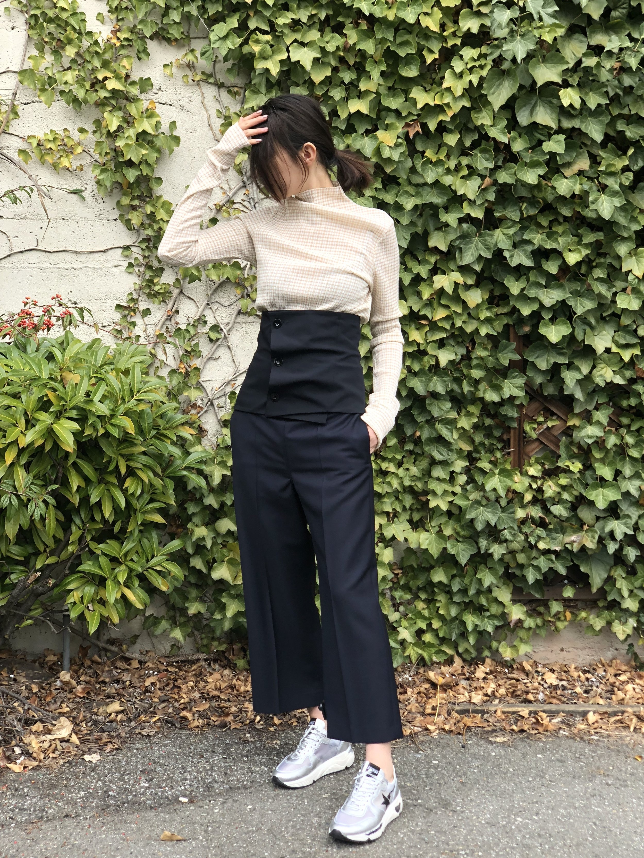 Outfit #1 is our new fave Jil Sander - Top, corset and trousers.