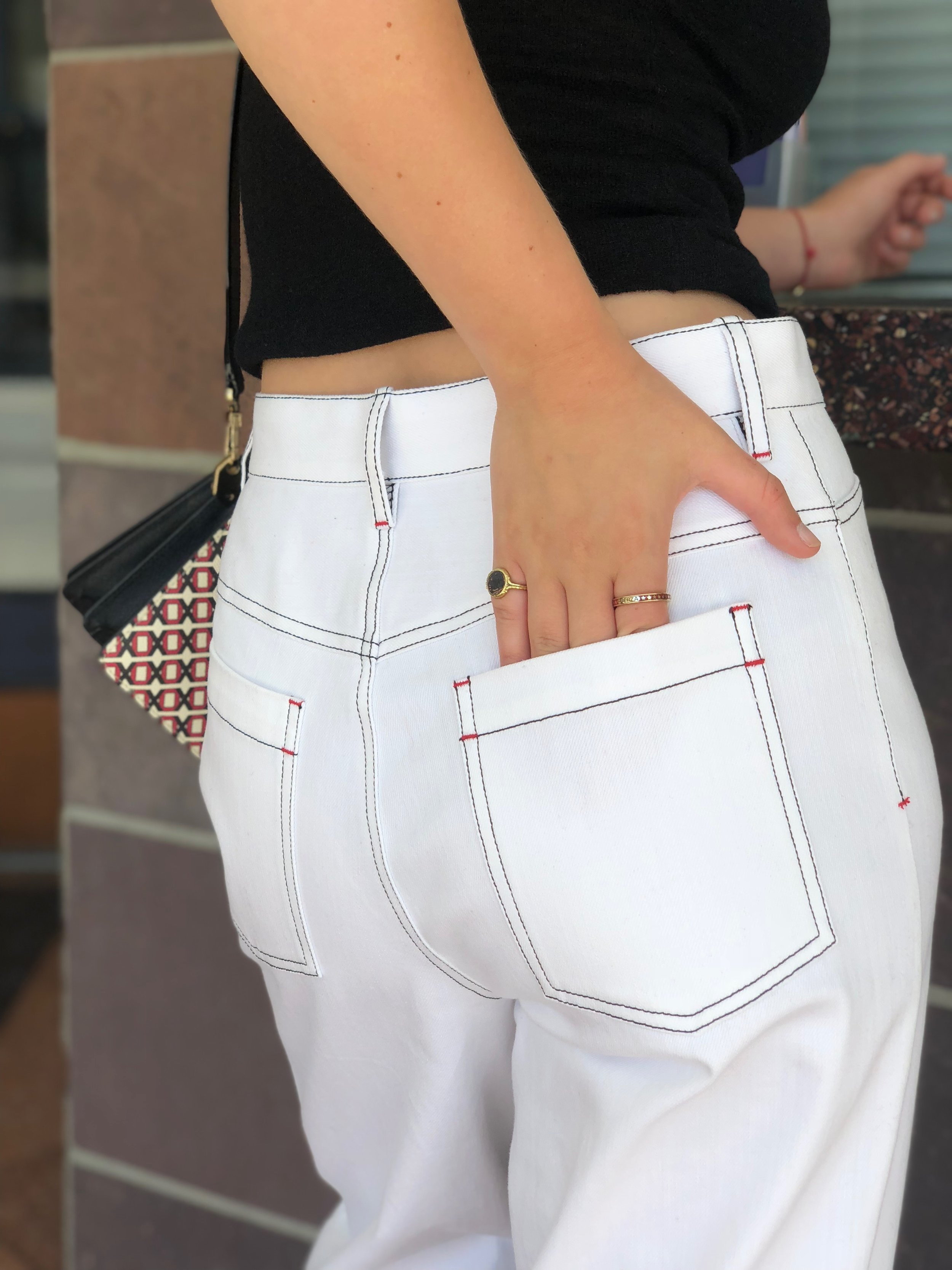"Elizabeth  L O V E S these white jeans - they keep you cool ""Instead of looking like you're about to put on a button down and hit up Martha's Vinyard."
