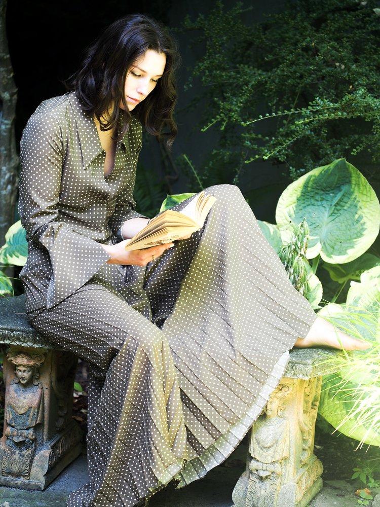 Erika Cavallini palazzo pants and blouse.