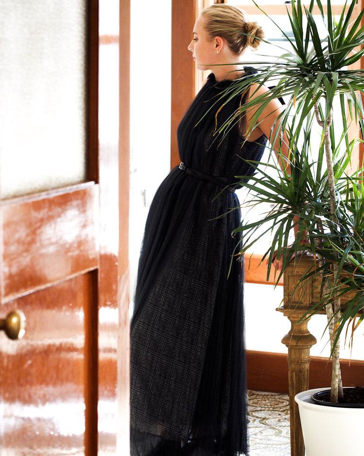 Loro Piana pleated goddess dress.