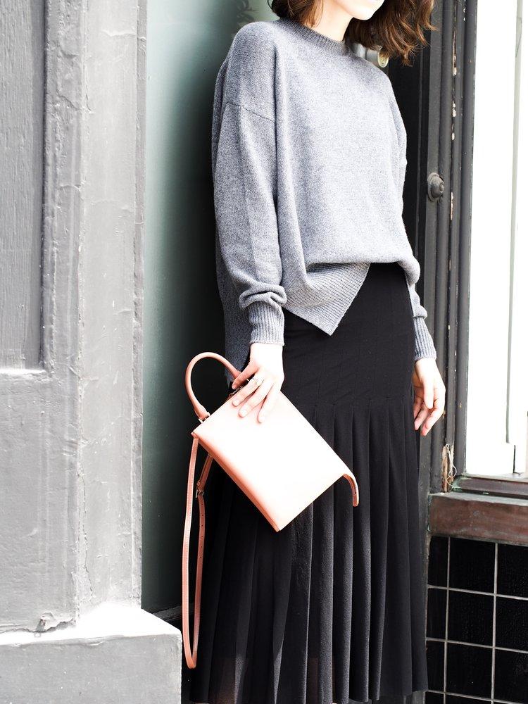 Jil Sander sweater, skirt and bag.