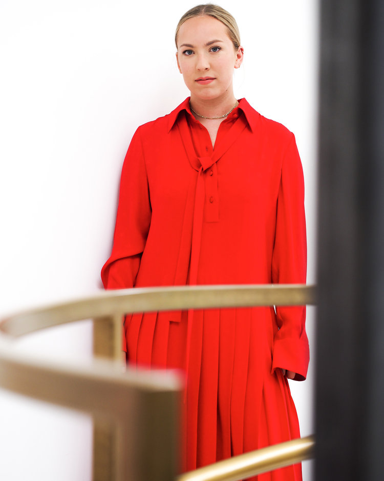 Long shirt-dress by Valentino.
