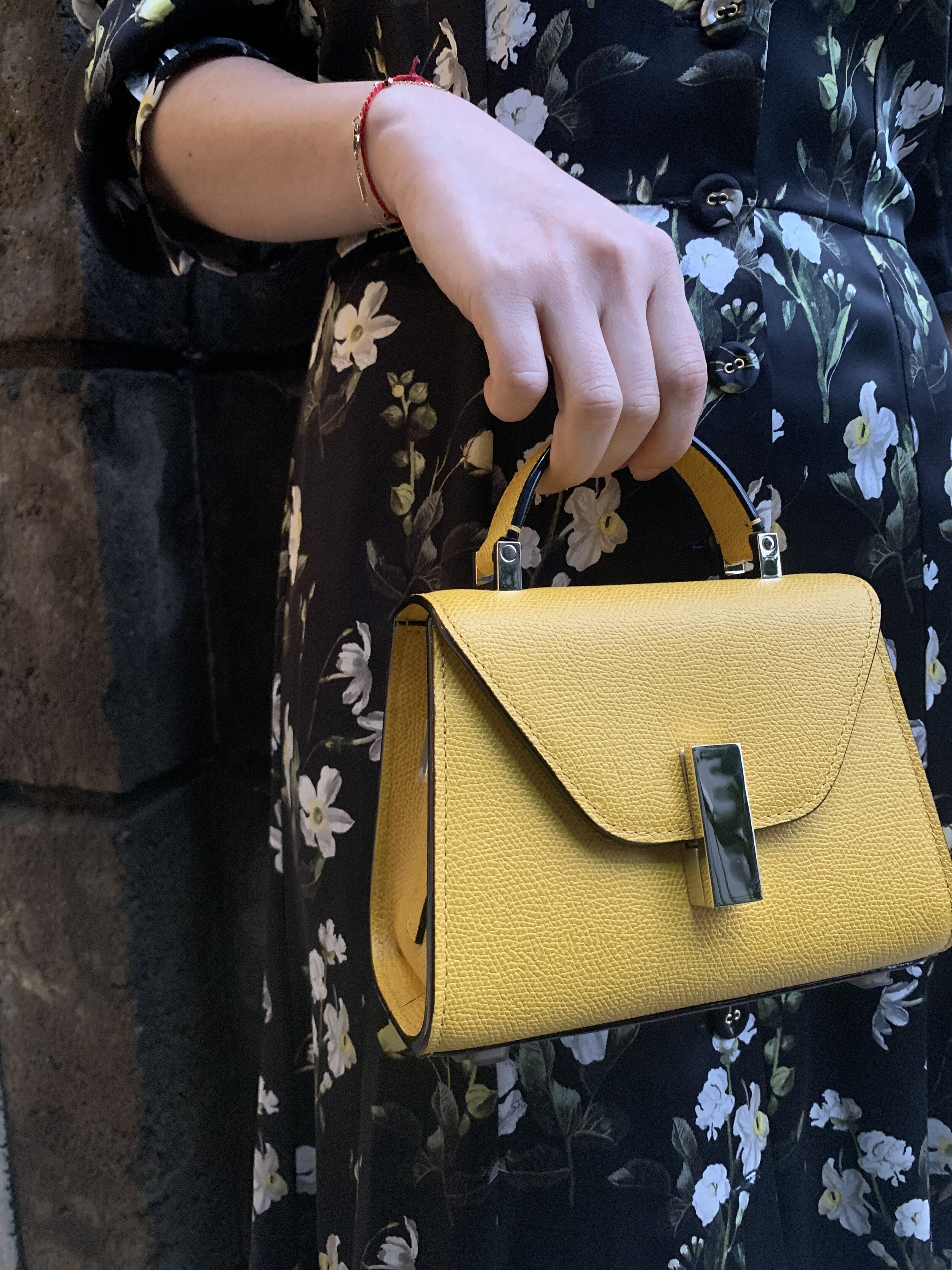 Outfit #1 includes a silky floral number by Erdem, a delightful mini Iside Valextra handbag  . . . .