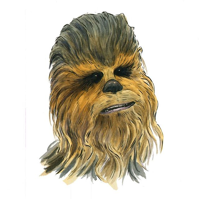 "Aww #Chewie!! Had to do a tribute piece to #petermayhew aka #chewbacca. Thanks for brightening our childhoods you big beautiful ""#walkingcarpet."" #ripchewbacca"