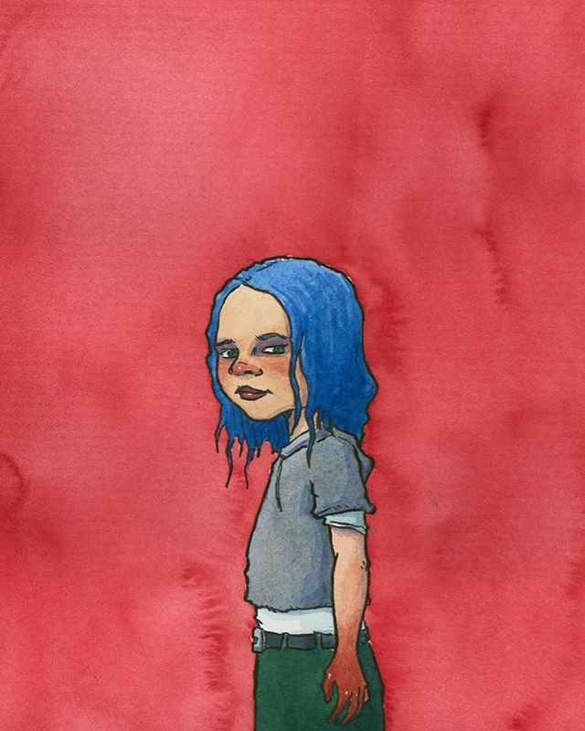 Blue Friday . . . #fridayfeeling #watercolor #ink #watercolorpainting #blue #mood #watercolorsketch #inkdrawing #illustration #illustrationartists #bluehair #girl #blood #formidable